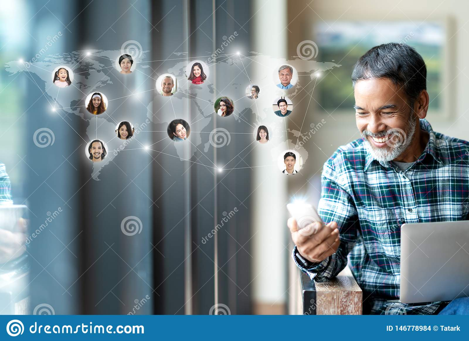 Social media network, Global network connection and people connecting all over the world map. Smiling happy mature man using
