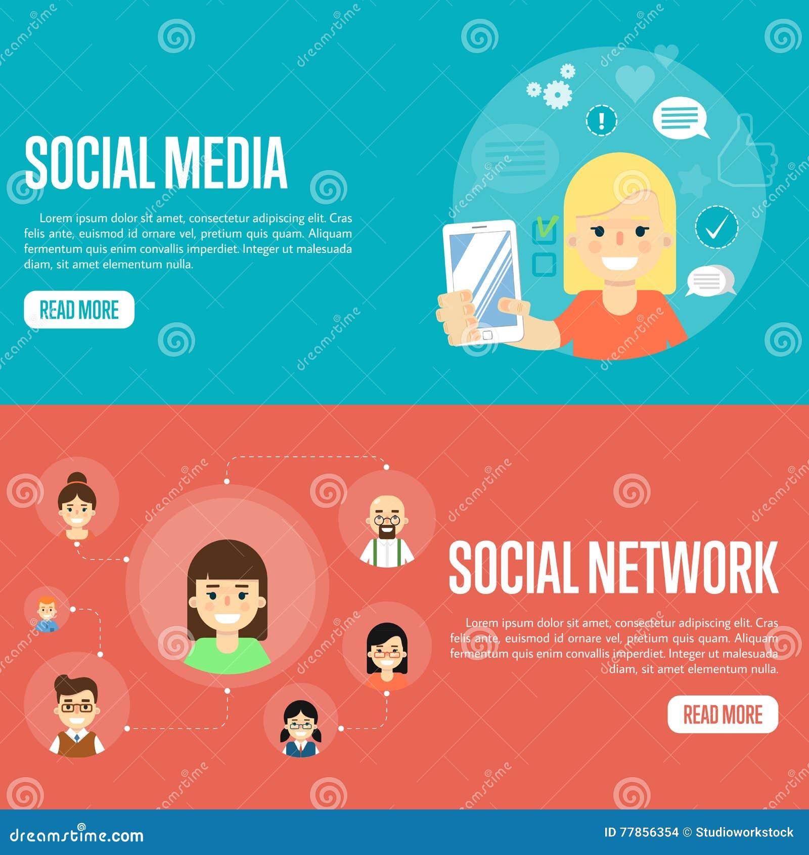 social media network website templates stock vector illustration