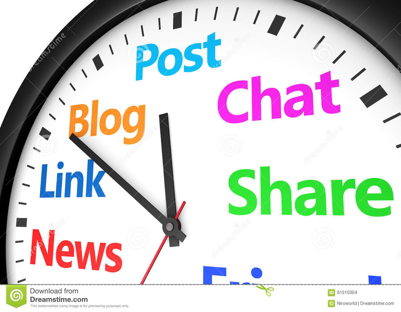 social media networking time management stock illustration image social media networking time management