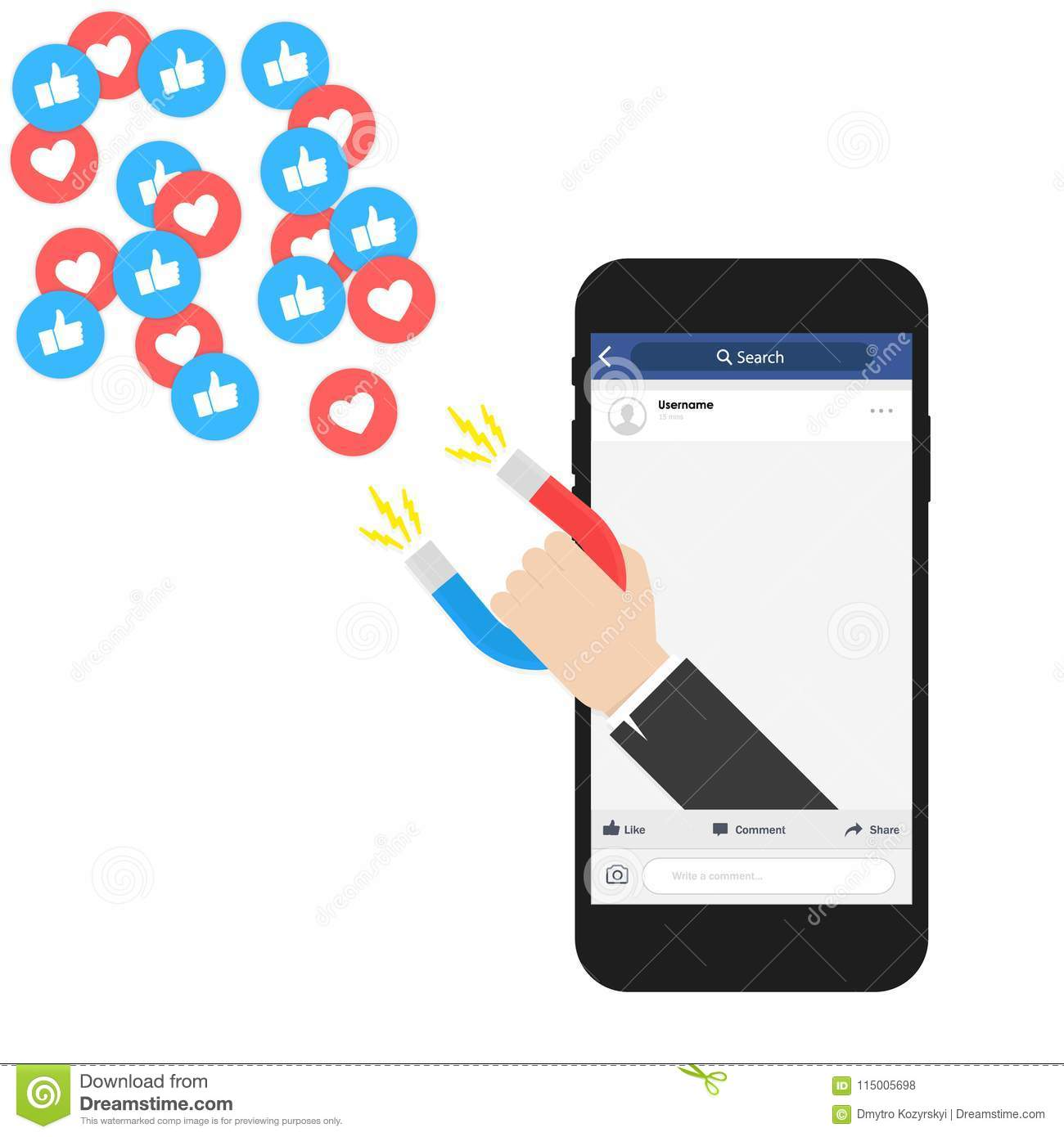 Social media online marketing. Digital advertising ads. The powerful of influencer marketing is like the magnetic field