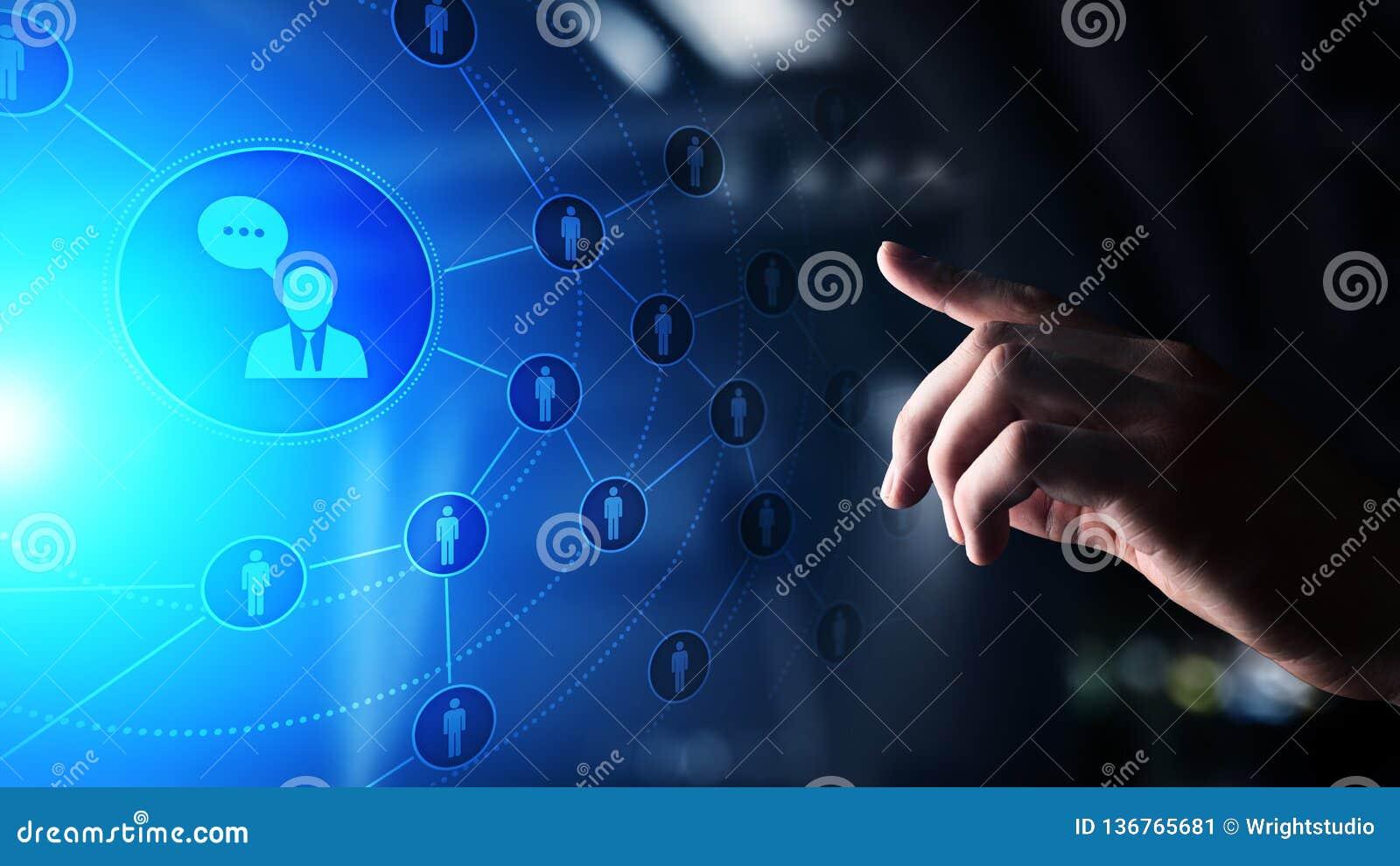 Social Media Plattform, Kundenkommunikationsstruktur, SMM, Marketing Internet und Geschäftstechnologiekonzept