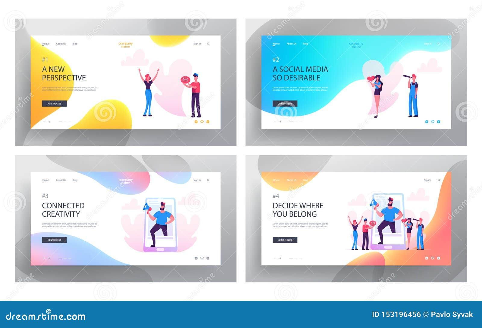 Social Media Relations, Blog, Website Landing Page Set, Smart Technologies, Blogging, Internet Communication, Profile Accounting