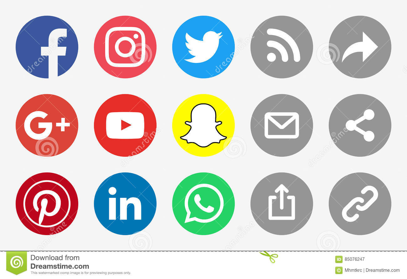 Social Media Round Icons and Share Buttons