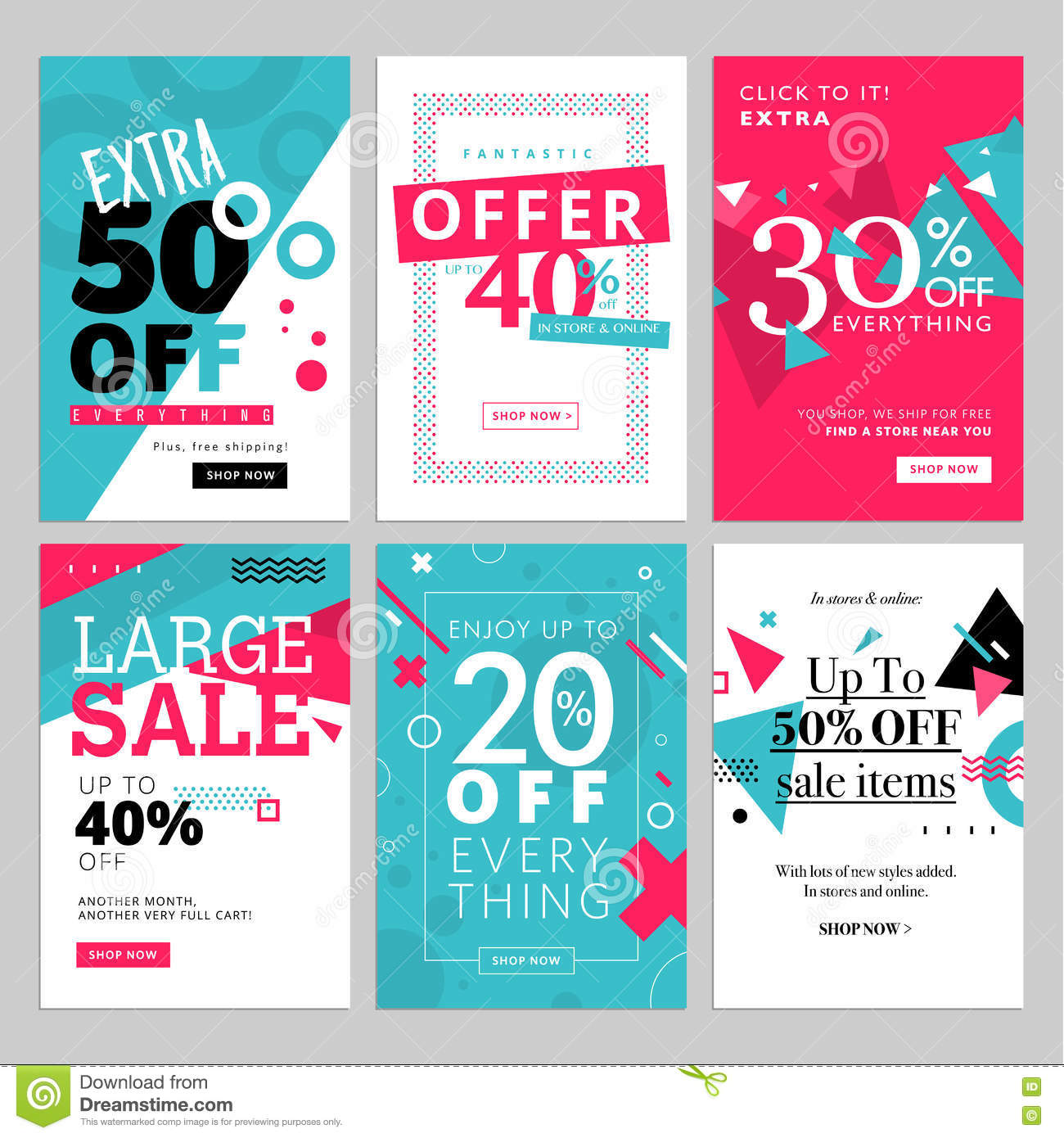 Social Media Sale Banners, And Ads Web Template Set Stock Vector ...