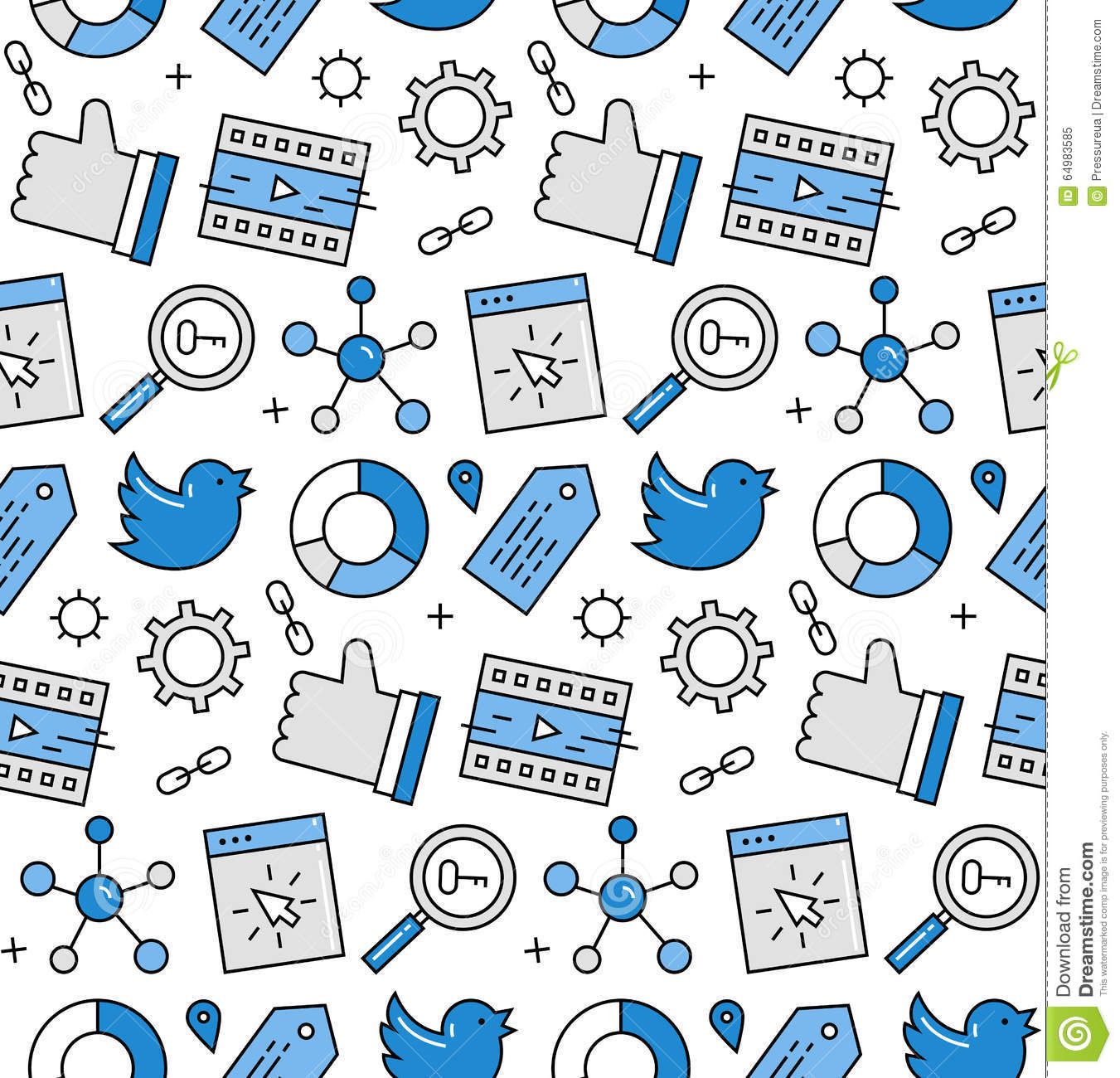 Modern line icons seamless pattern texture of social media networking ...