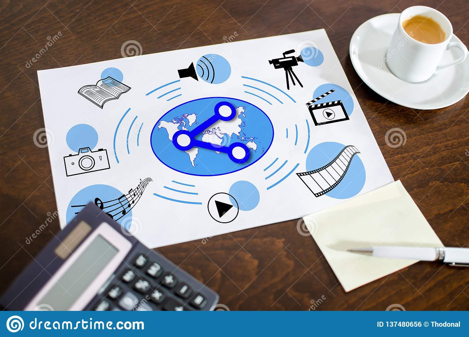 Social media sharing concept on a paper. Placed on a desk royalty free stock image