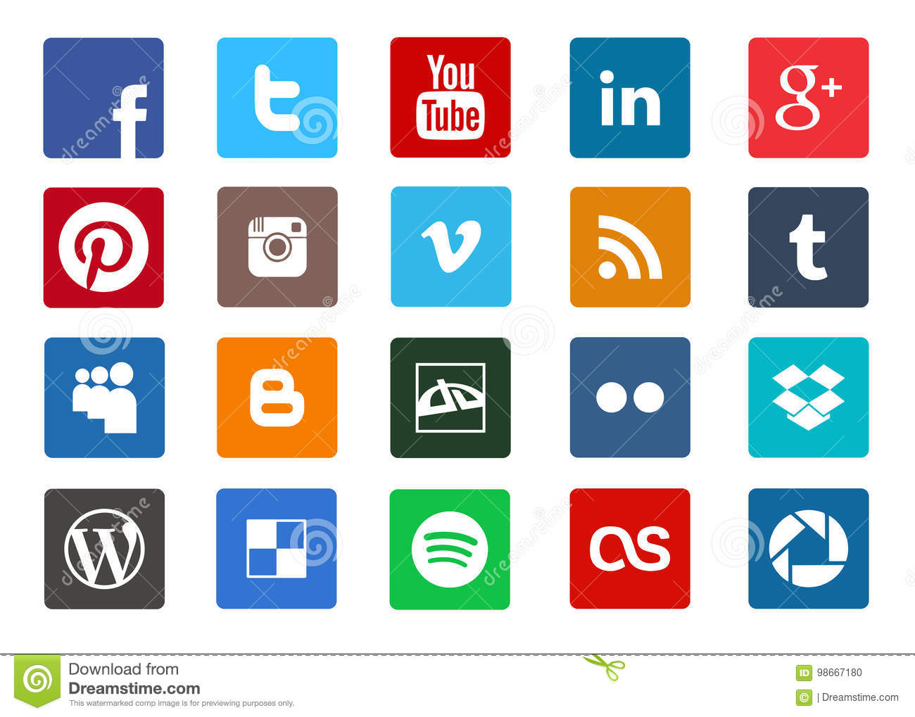 Social media and technology icon set
