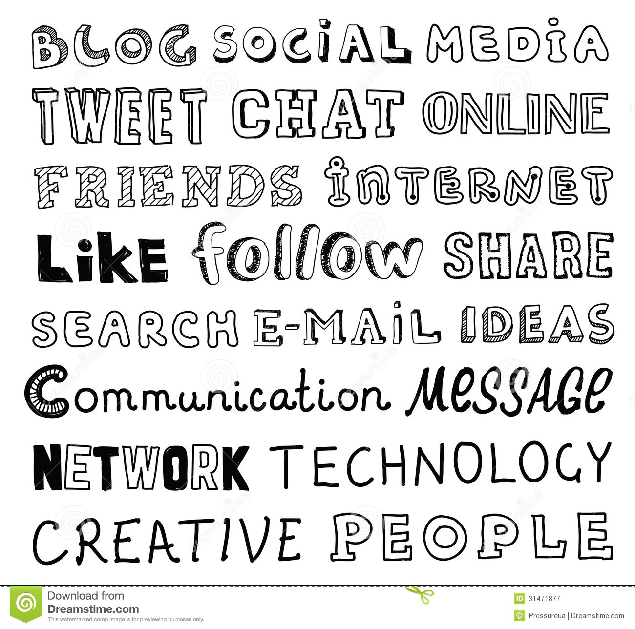 Vector Collection Of Hand Drawn Words On The Social Media And Communication Theme Written In Different Style Fonts Isolated White Background
