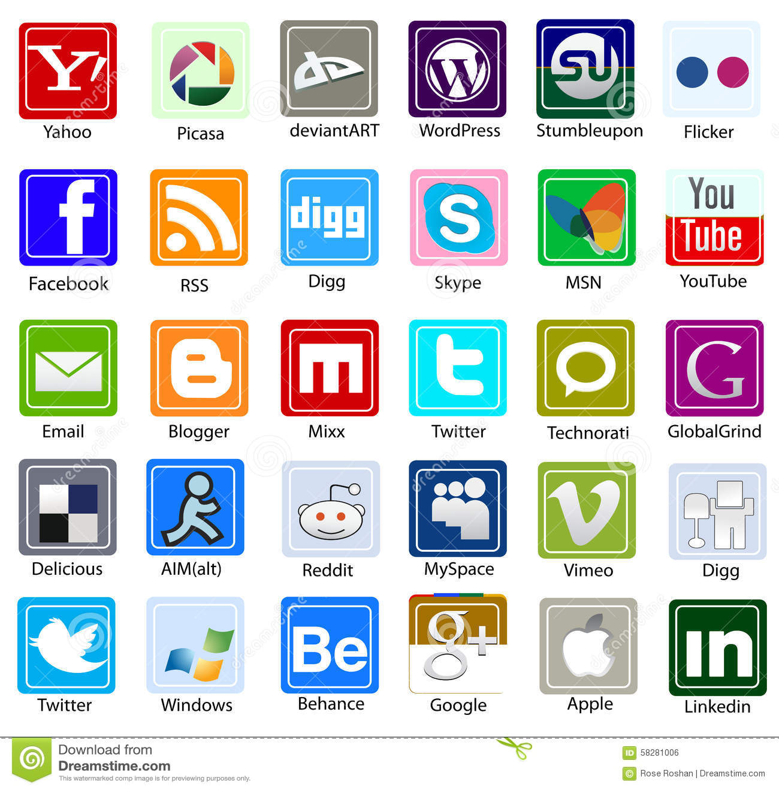 And logos social names media List of