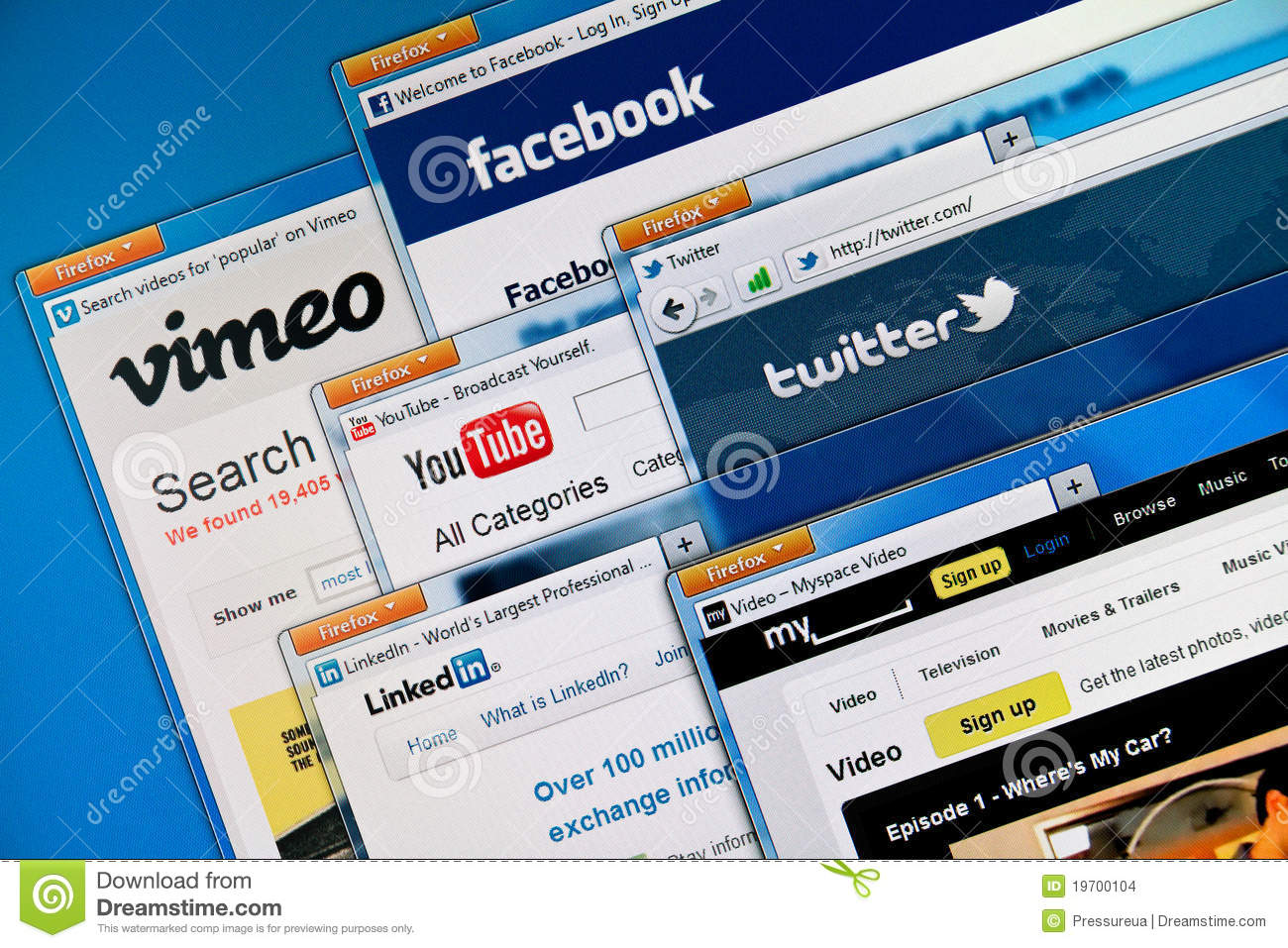Social media web sites editorial stock image  Image of