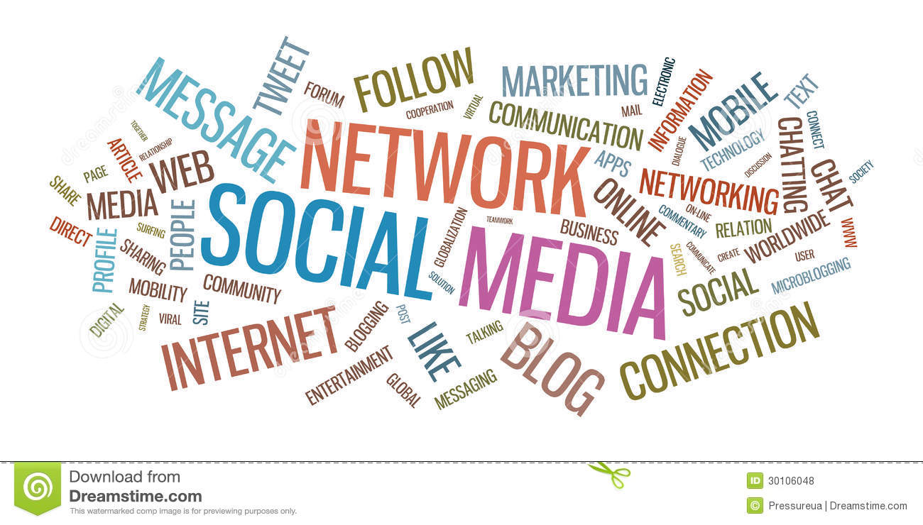 social media typographical illustration royalty free stock