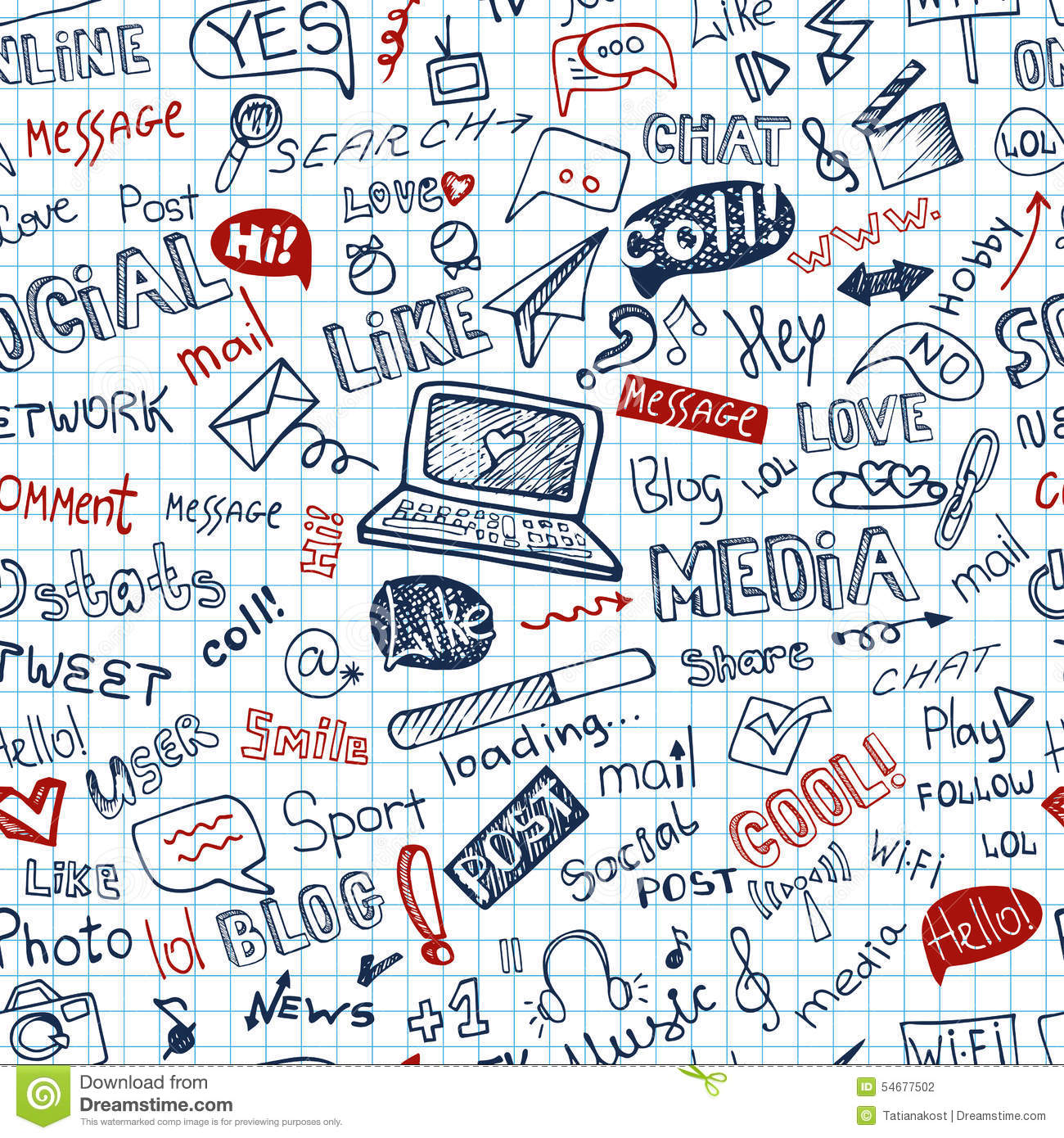 social media word icon seamless pattern doodle stock