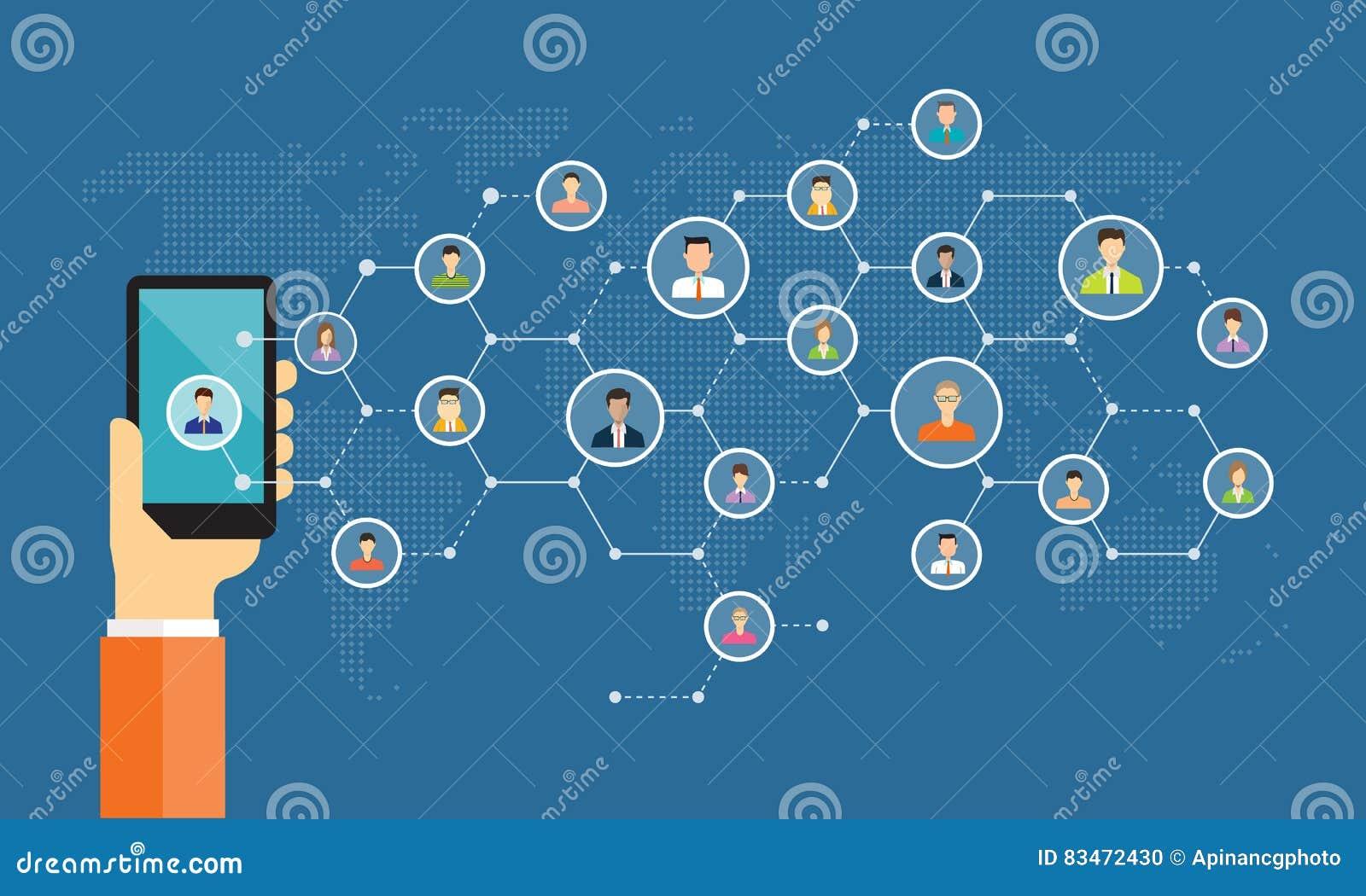 Social nätverksanslutning för online-affärsbakgrund