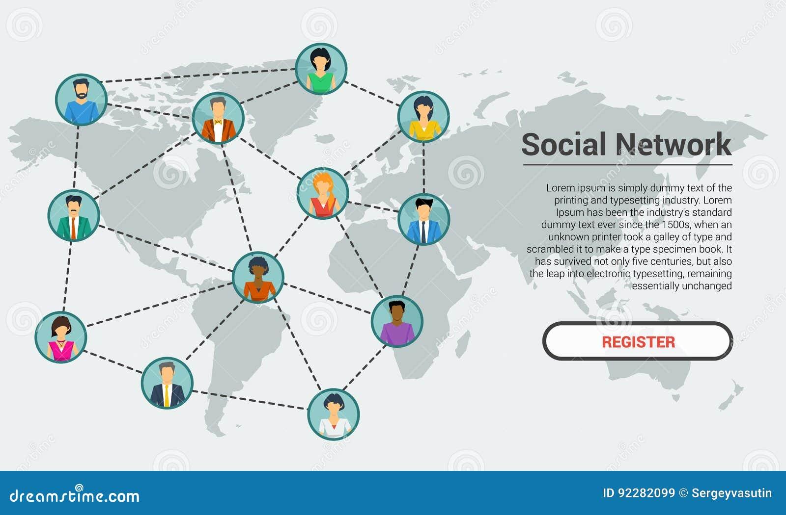 Social Network - Banner Template Stock Vector - Illustration