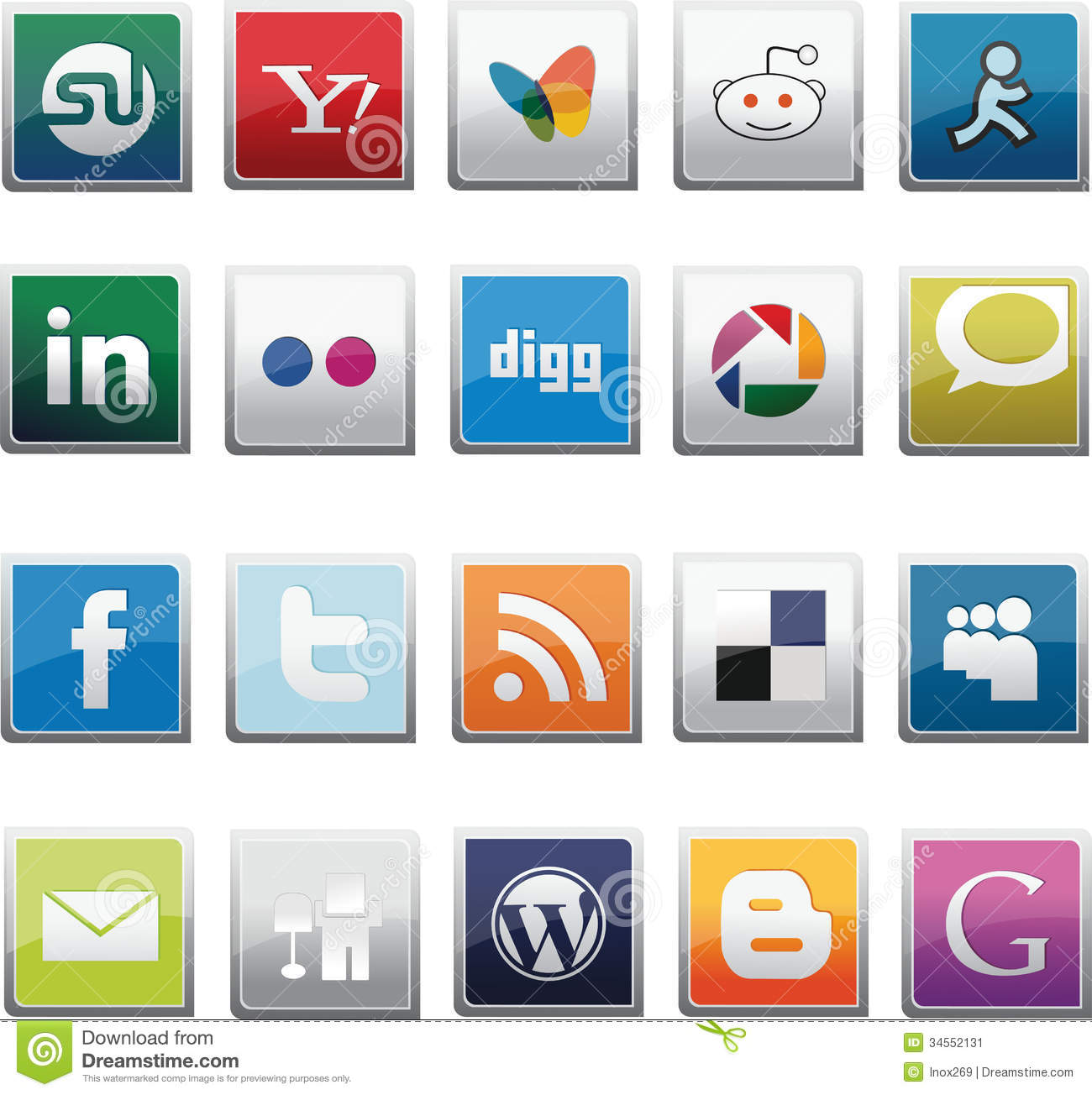 Social network buttons set editorial photo image 34552131
