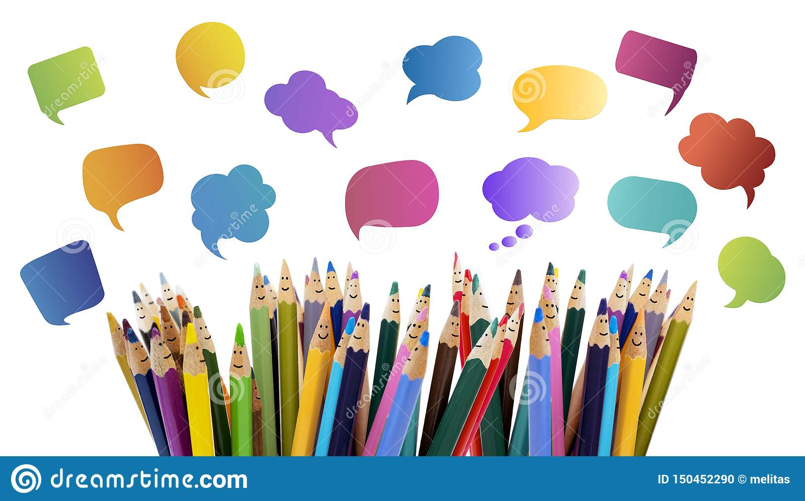 Social network communication. Colored pencils funny faces of people smiling. Dialogue group of people. Crowd Talking. Group of peo