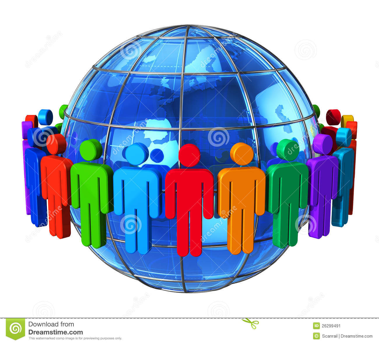 Social network communication and media concept group of color human
