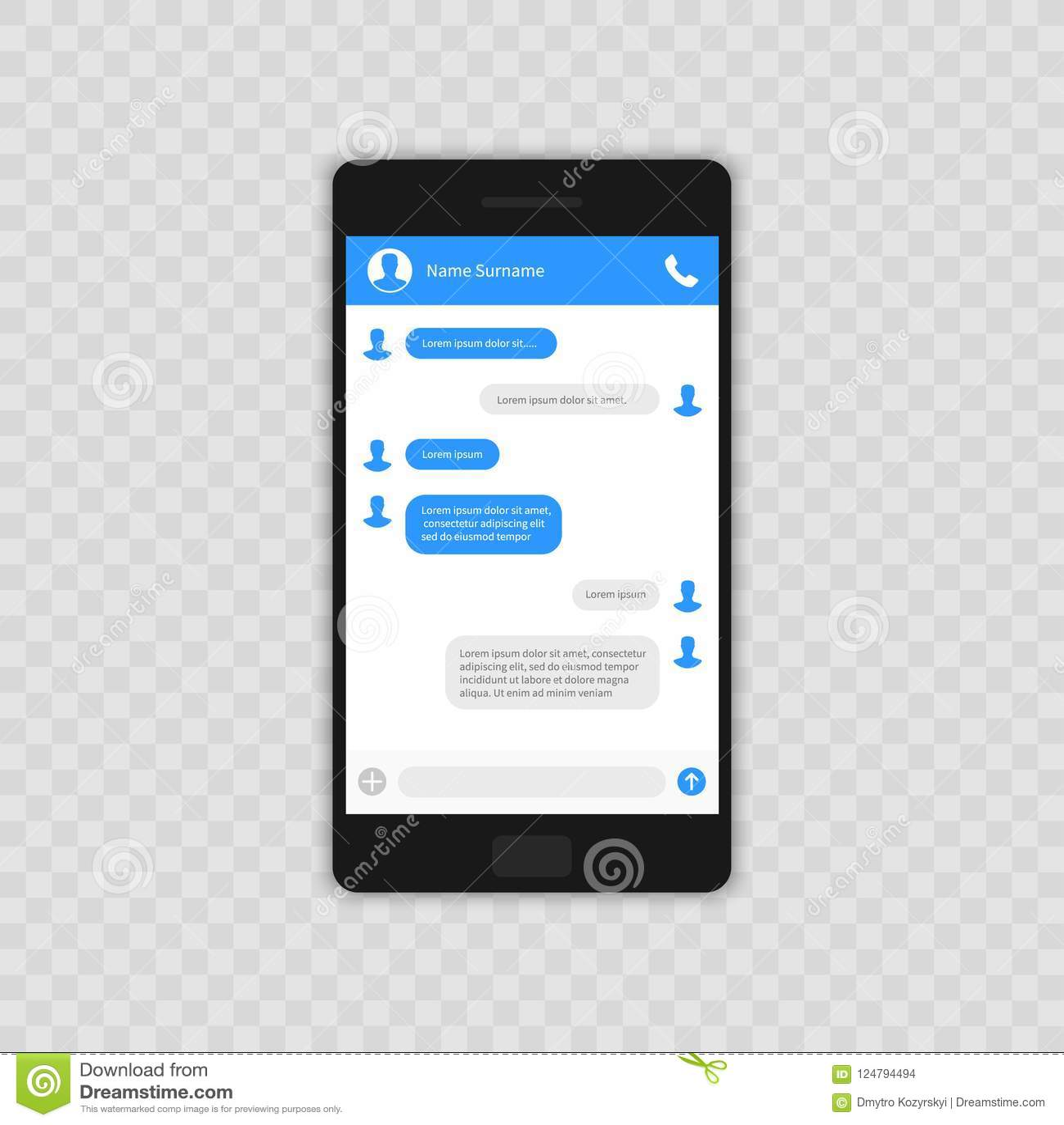Social Network Concept  Blank Template  Messenger Window