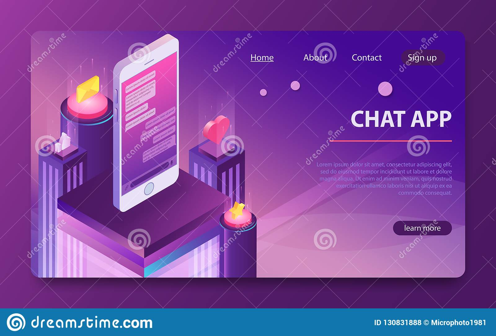 Social network concept. Chat messages notification in smartphone. Isometric messenger app.