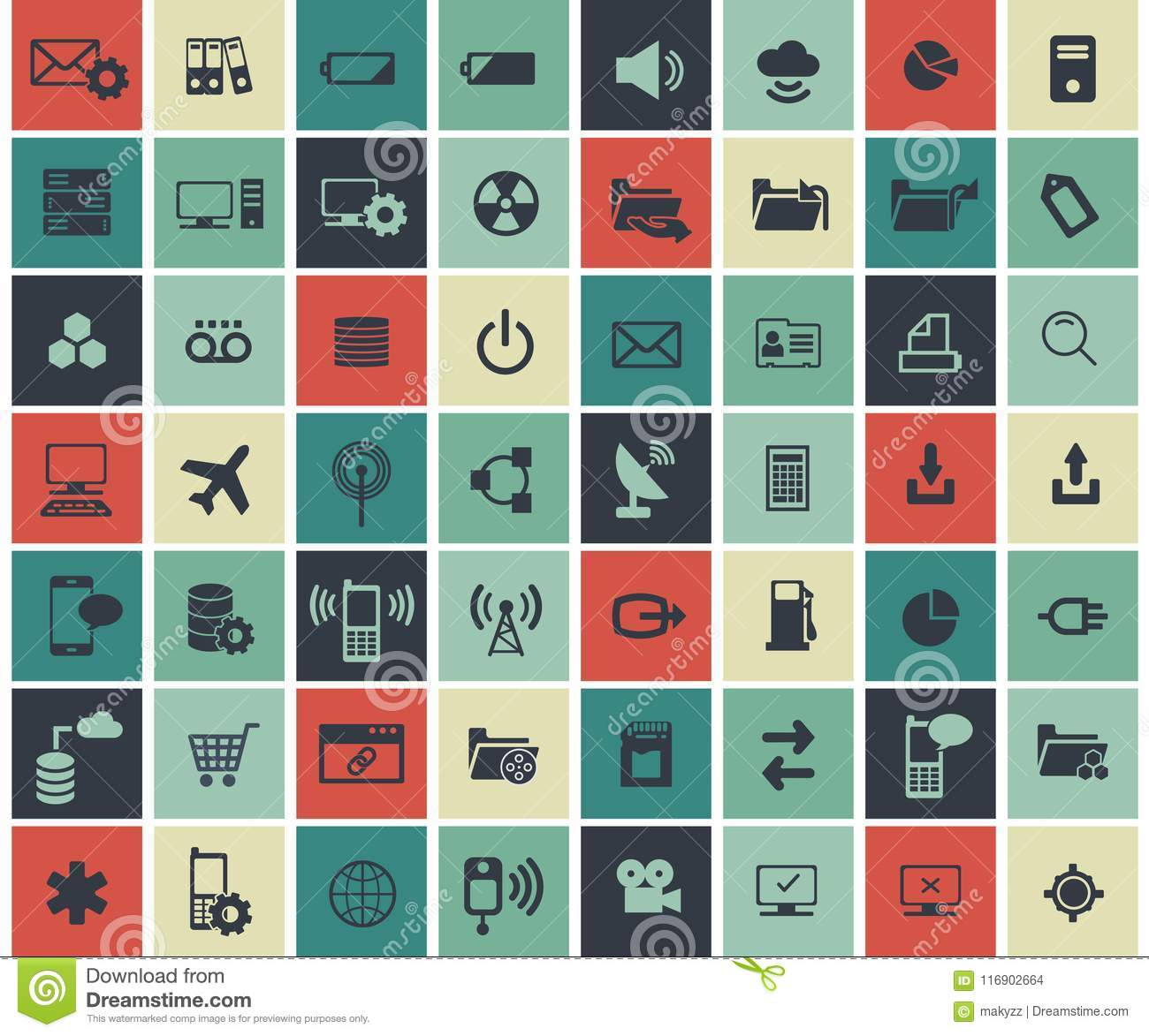 Social network, data analytic, mobile and web application icon set. Flat vector