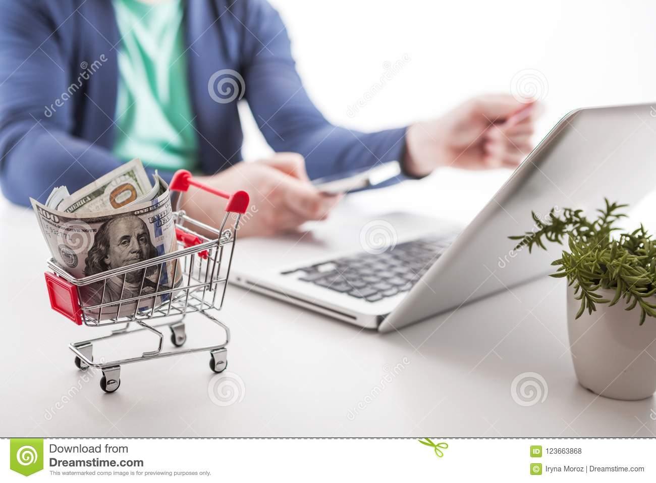 Social Network Diagram As Online Shopping Concept Stock Photo