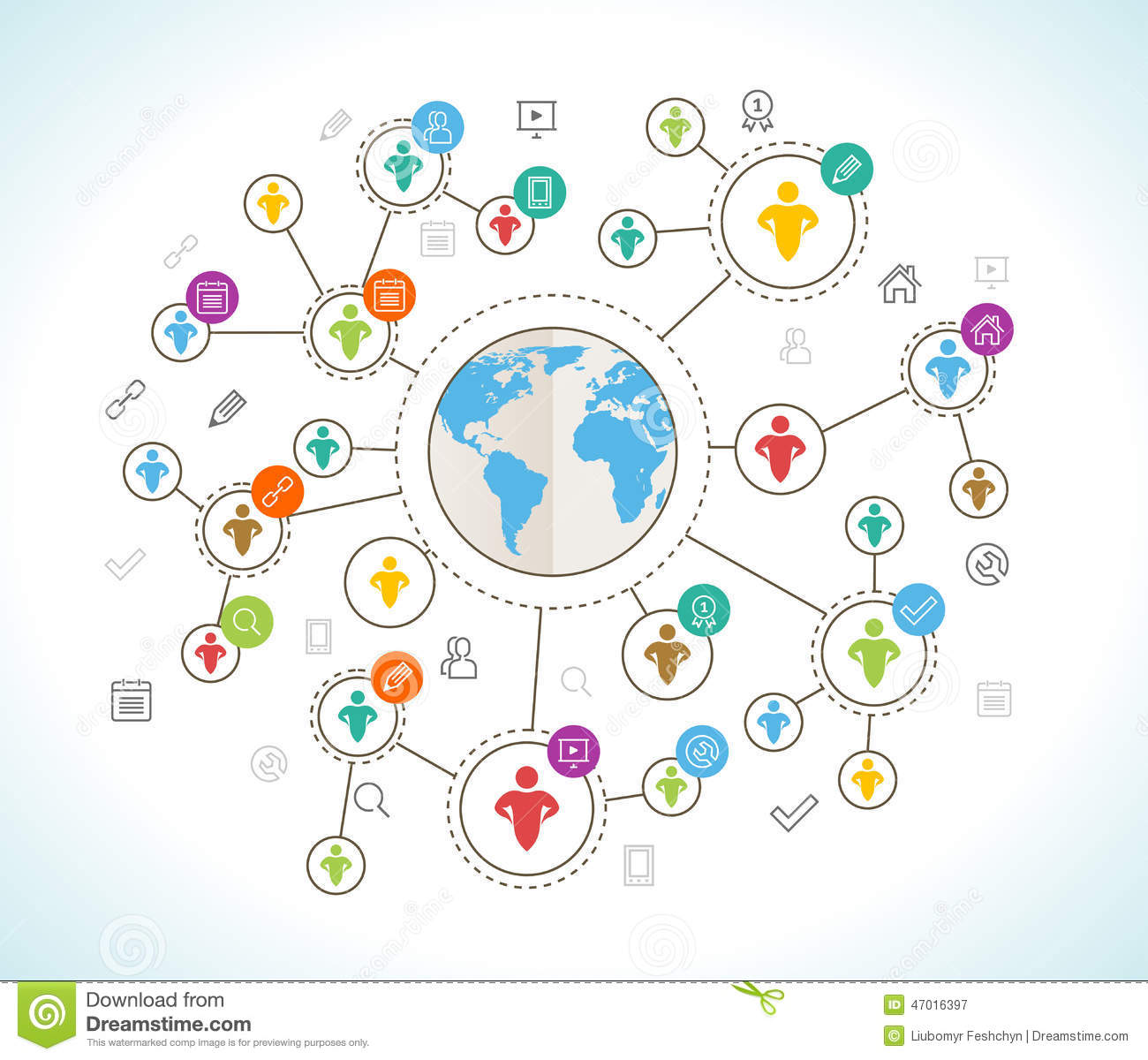 Social network flat design concept with world map illustration social network flat design concept with world map gumiabroncs Image collections