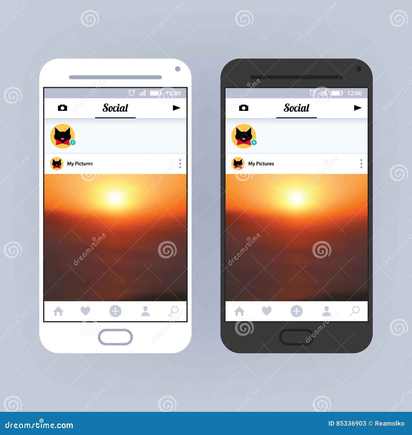 Social Network Frame. App Interface Design. Photo Sharing ...