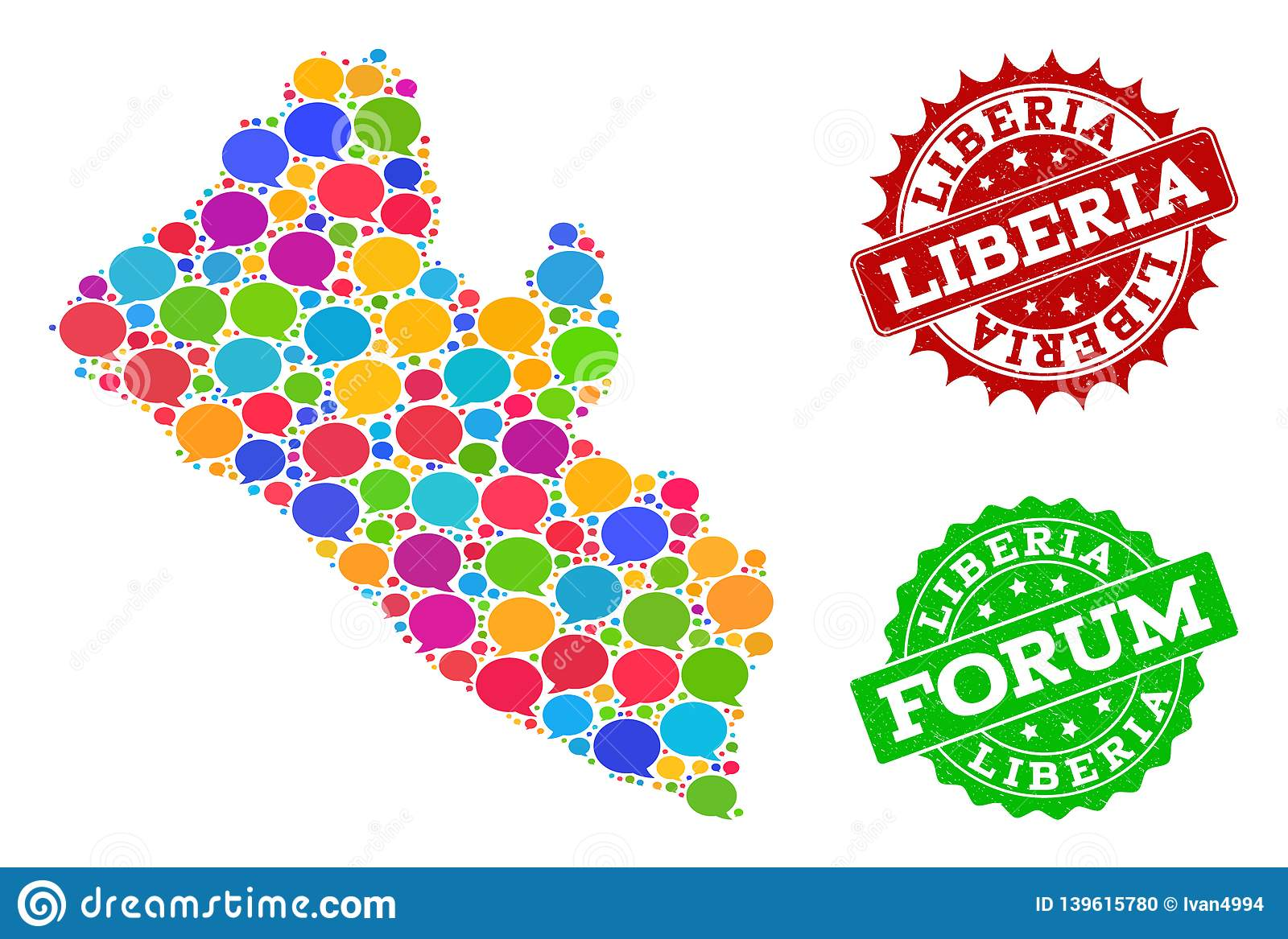 Social Network Map Of Liberia With Message Bubbles And ...