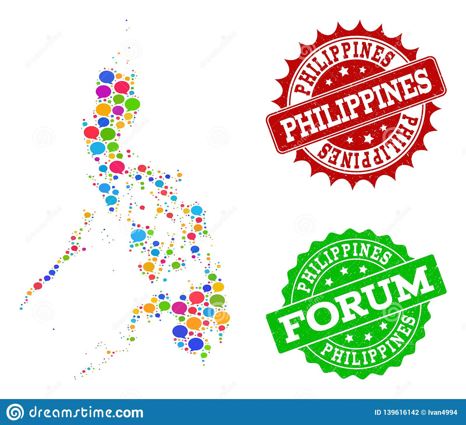 Social Network Map Of Philippines With Chat Clouds And ... on
