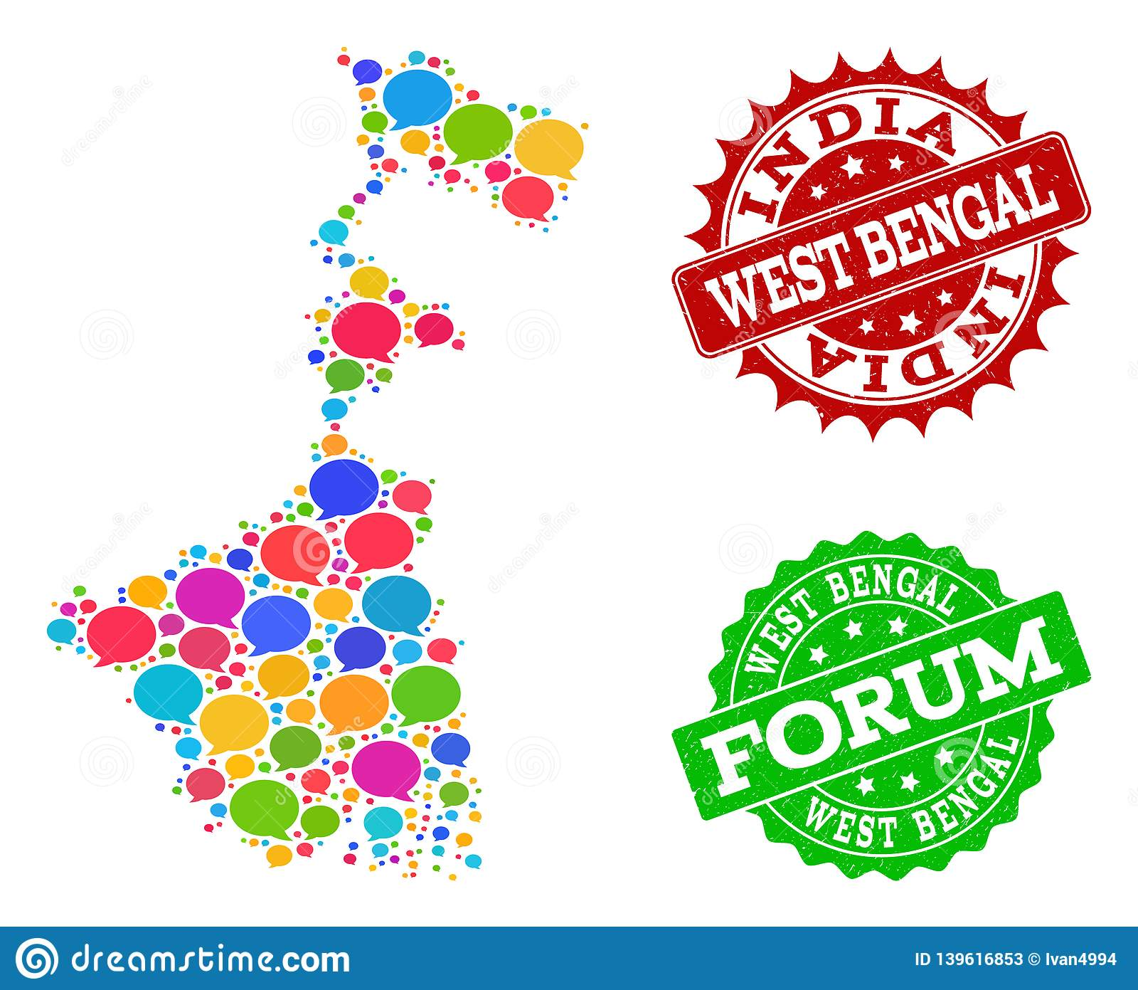 Social Network Map of West Bengal State with Message Clouds and Scratched Seals