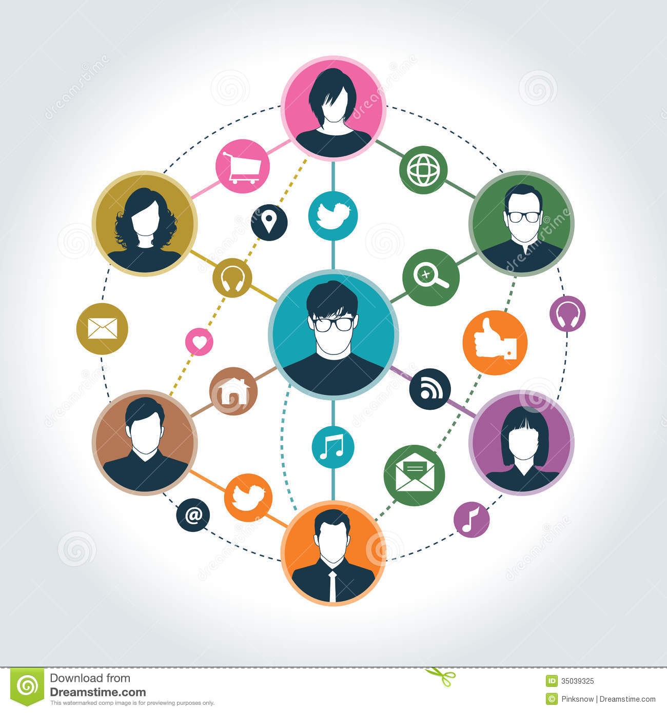 Social network stock vector. Illustration of ideas, cart ...