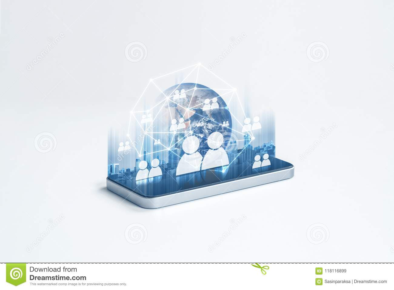 Social network, mobile phone internet network and communication technology. Element of this image are furnished by NASA