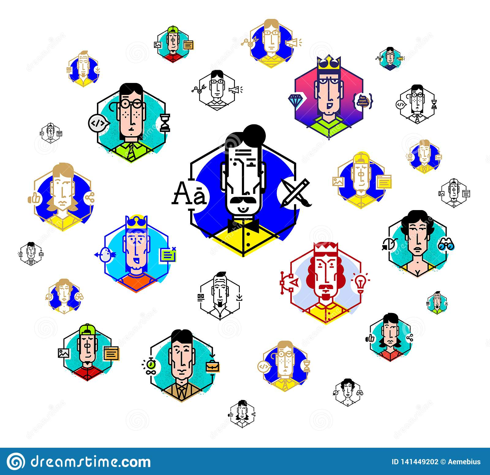 Social network, people communicate. Vector flat illustration. The icons are isolated on a white background. People of the