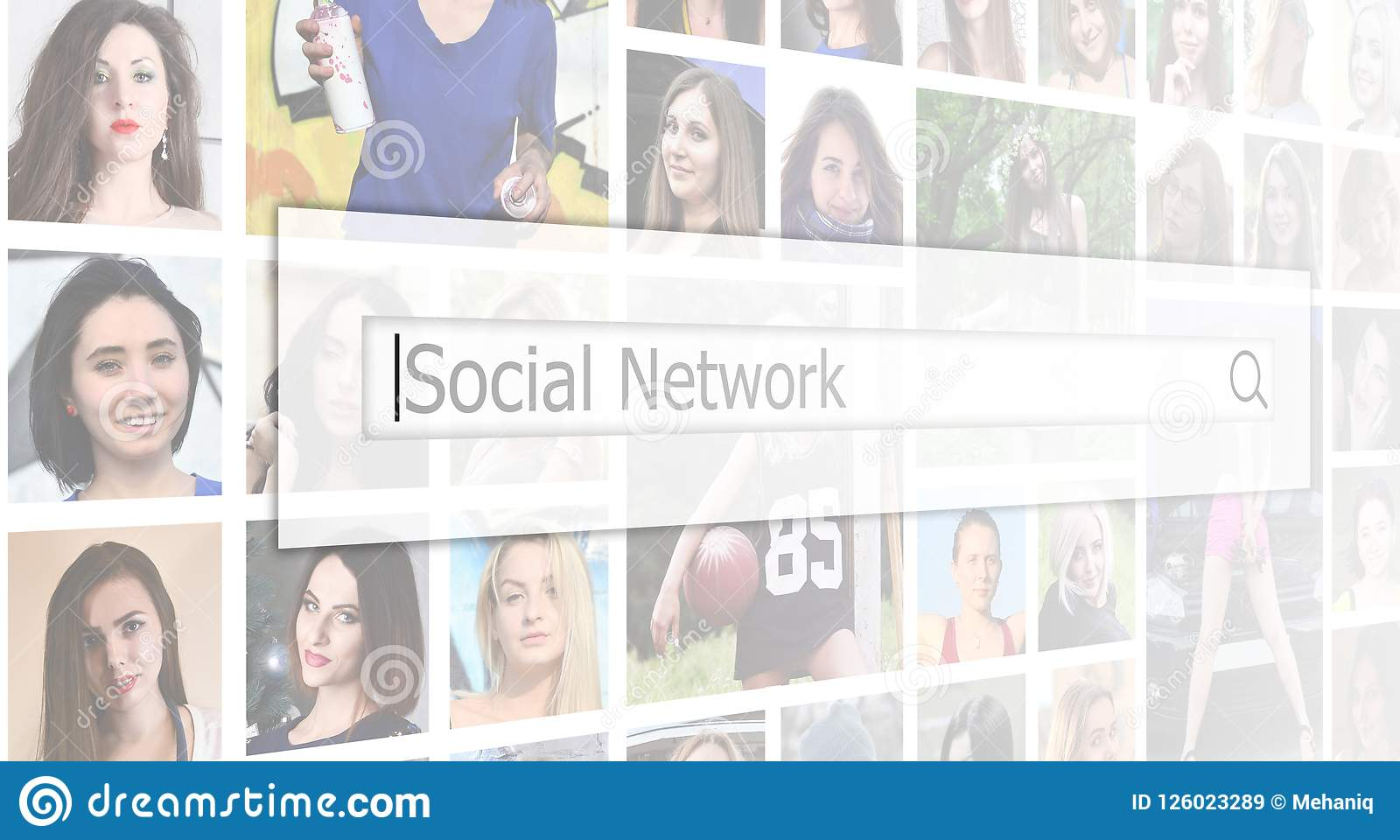 Social network. The text is displayed in the search box on the b