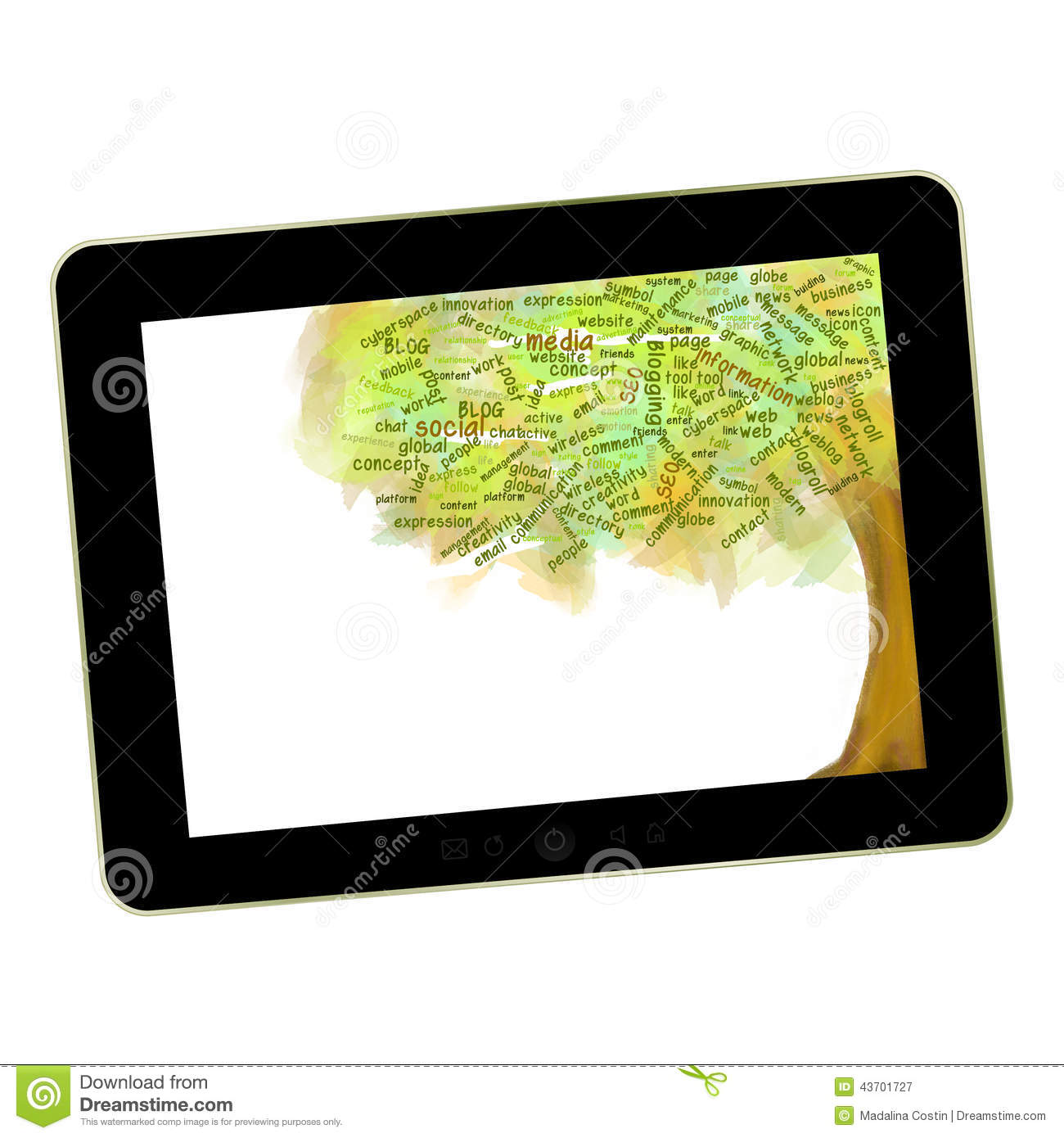 Social network tree. Blog Symbol on a tablet pc. Business growing