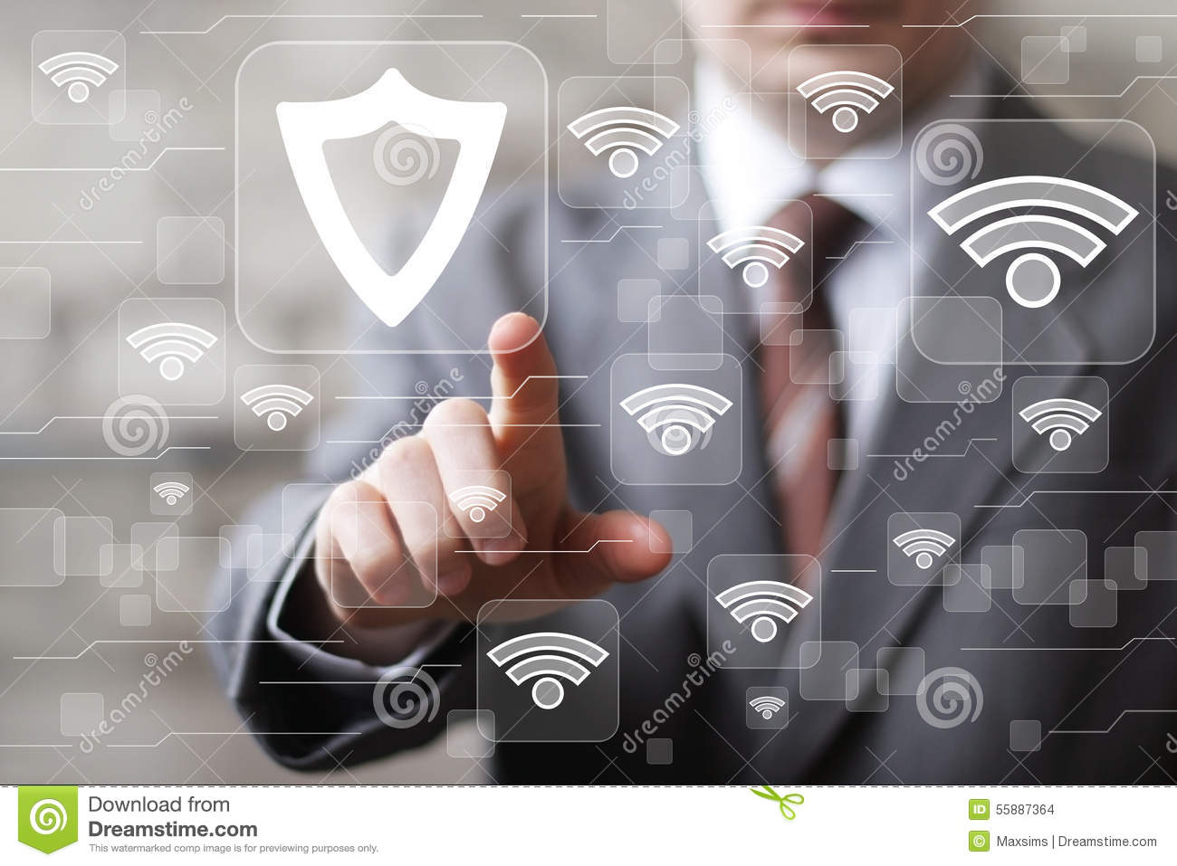 Social network Wifi business button shield security virus icon