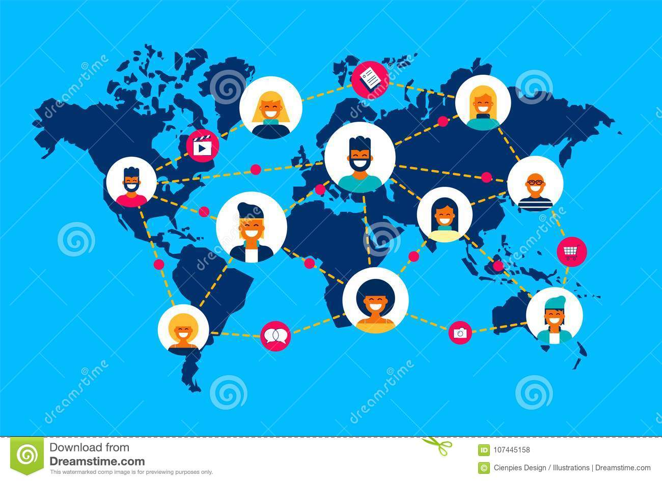 Social network world map people team connection stock vector social network world map people team connection royalty free vector gumiabroncs Image collections