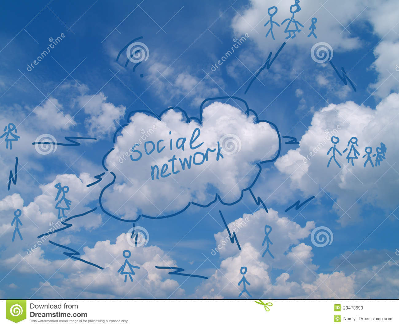 Social networking scheme drawed over cloudy sky