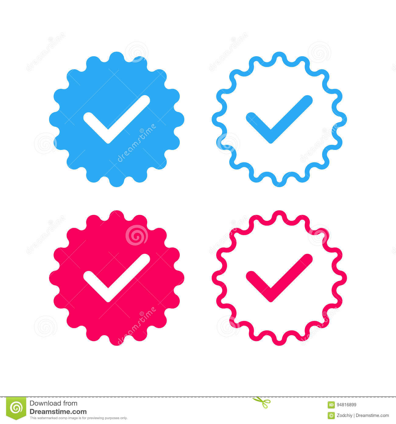 social networks verified badges 2 copy stock vector illustration