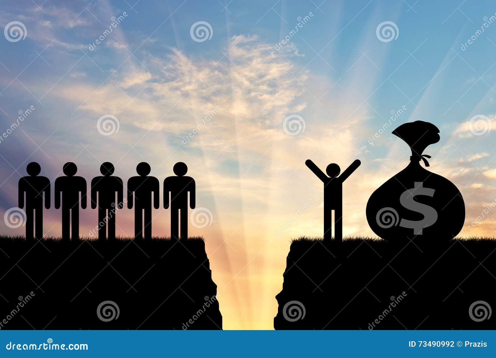 Social ojämlikhet mellan rikt fattigt folk