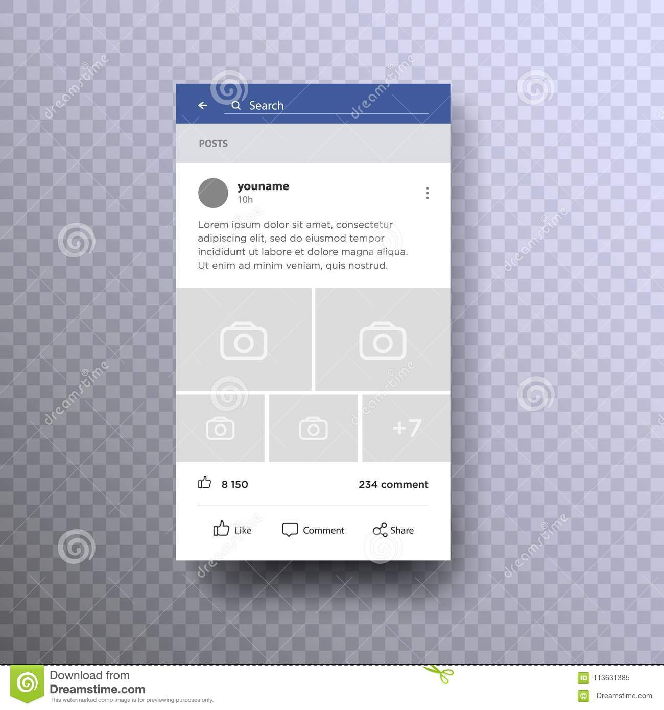 Social Page Interface Concept On Mobile Vector  Stock Vector