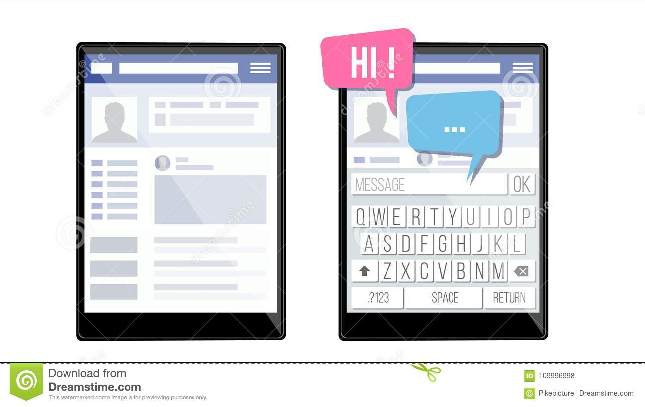 Social Page On Tablet Vector  Speech Bubbles  Application
