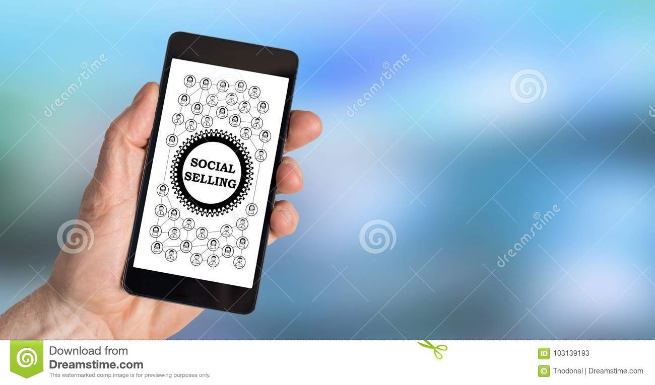 Social selling concept on a smartphone