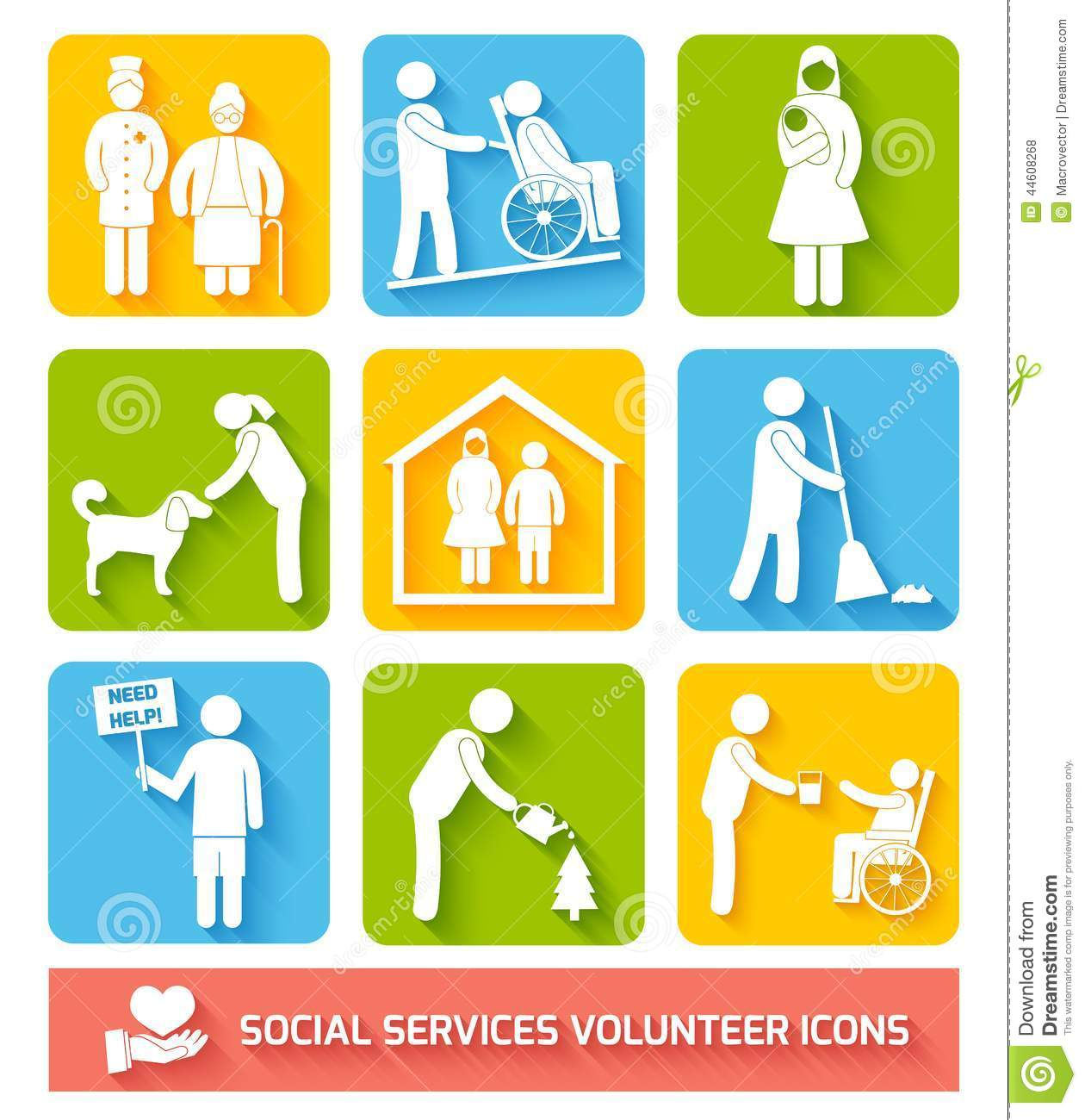 Social Services Icons Set Flat Stock Vector - Image: 44608268