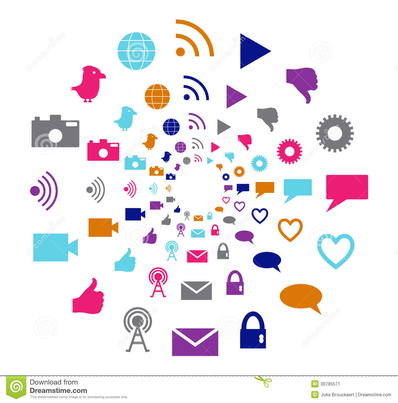 Social Technology And Media Motion Circle In Bright Colors