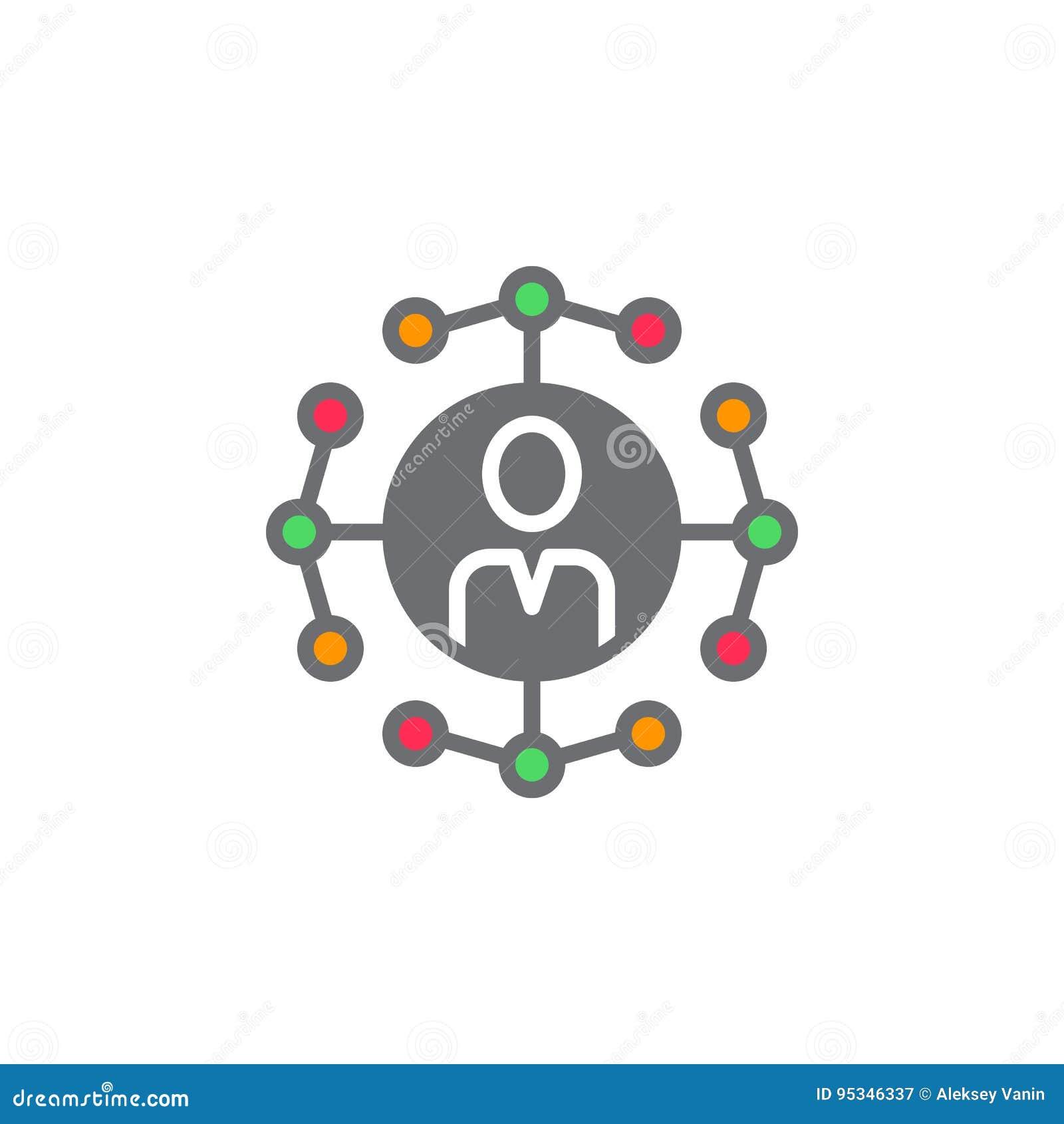 Social vektor för symbol för nätverksanslutningar, fyllt plant tecken som är fast
