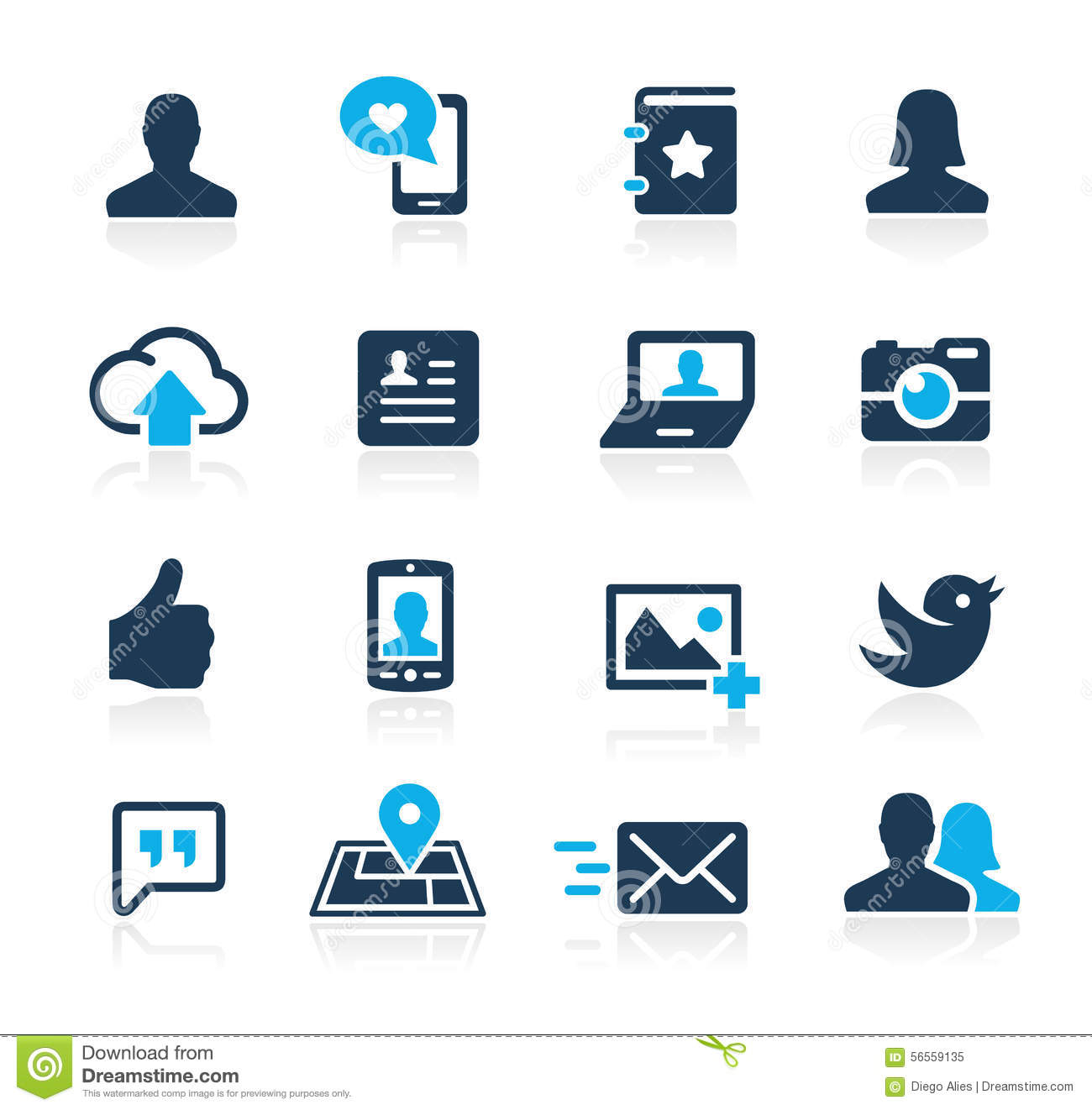Social Web Icons Azure Series Editorial Image - Image ...