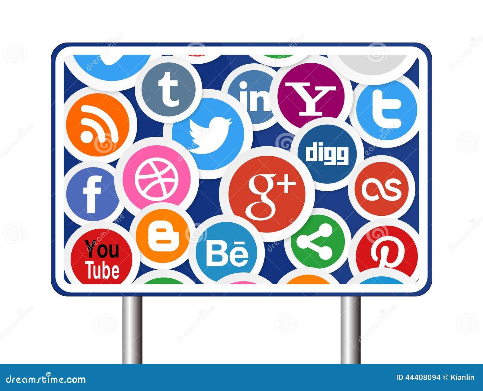 Sociala massmediasymboler på vägmärke