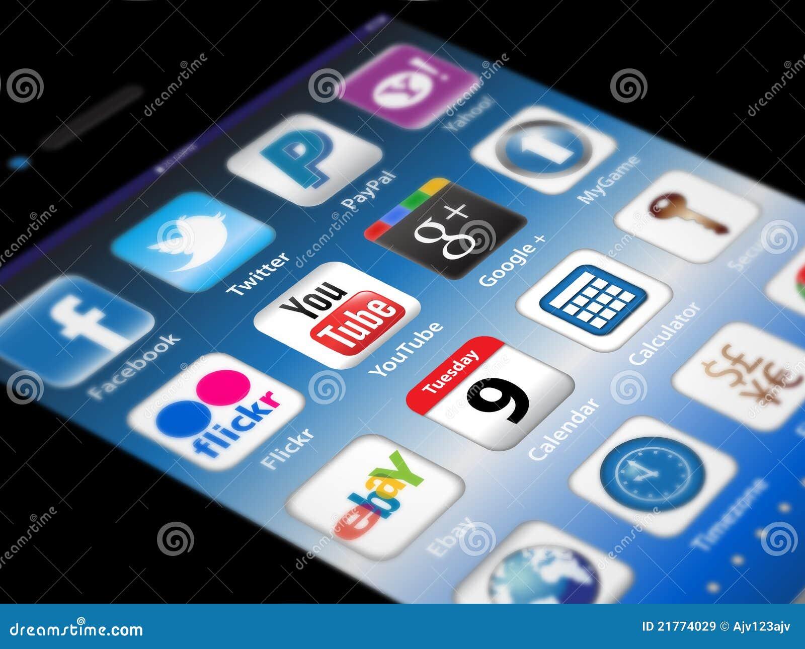 Sociale Madia apps op een iPhone van de Appel 4S