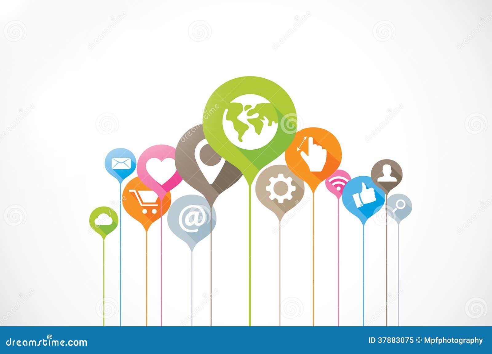 Sociale media backgrou van verbindings vlakke lange schaduwen